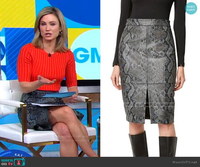 Elias Leather Snake Skin Pencil Skirt by French Connection worn by Amy Robach  on Good Morning America