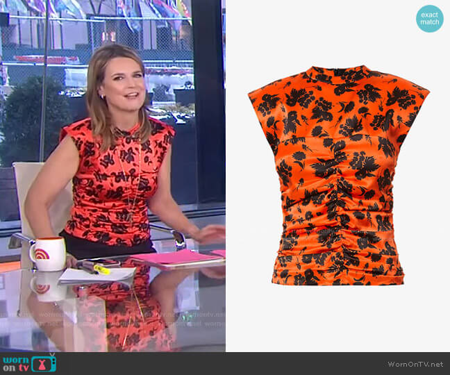Floral Print Ruched Stretch Silk Satin Sleeveless Top by Ganni worn by Savannah Guthrie  on Today