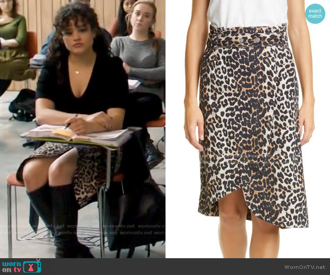 Ganni Leopard Print Asymmetrical Denim Wrap Skirt worn by Maggie Vera (Sarah Jeffery) on Charmed