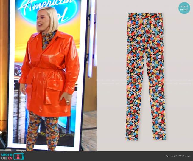 Floral Print Mesh Leggings by Ganni worn by Katy Perry  on American Idol