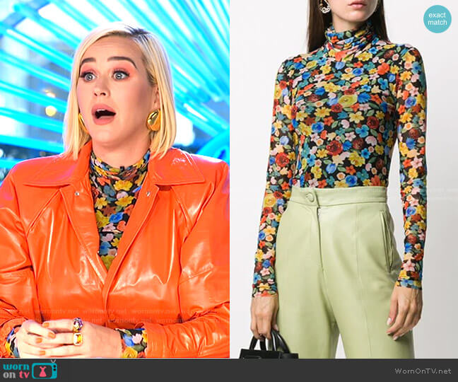 Floral Print Mesh Blouse by Ganni worn by Katy Perry  on American Idol