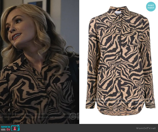 Tiger Swirl Print Buttoned Shirt by Ganni worn by Amy Quinn (Lindsey Gort) on All Rise