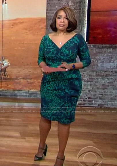 Gayle King's green leopard print dress on CBS This Morning