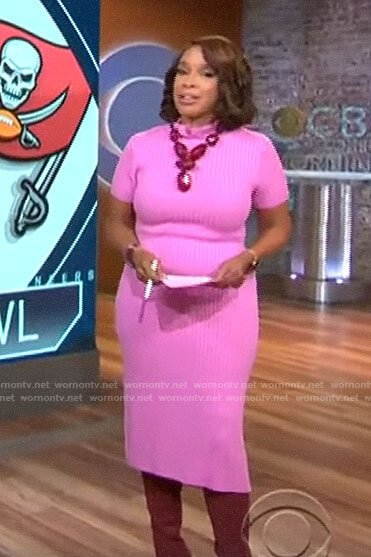 Gayle King's pink ribbed midi dress on CBS This Morning