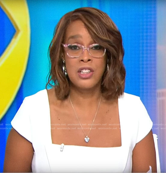 Gayle King's white square neck dress on CBS This Morning