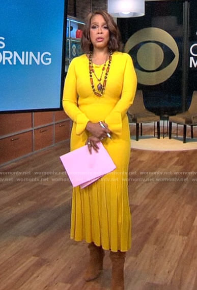 Gayle King's yellow ribbed pleated midi dress on CBS This Morning