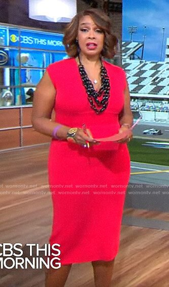 Gayle King's red v-neck sheath dress on CBS This Morning