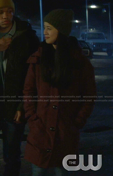 George's burgundy hooded coat on Nancy Drew