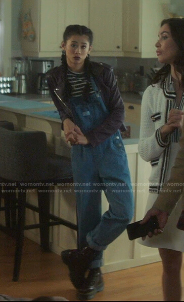 George's denim overalls and leather jacket on Nancy Drew