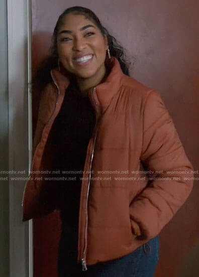 Gianna's orange puffer jacket on Chicago Fire