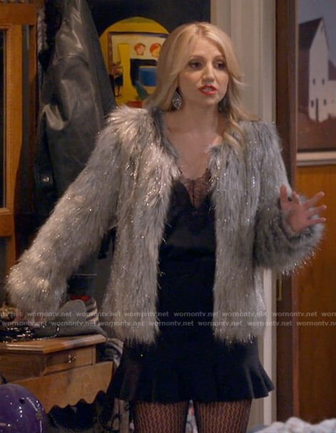 Gina's metallic fur jacket and black lace top and skirt on B Positive