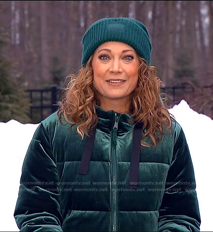 Ginger's green velvet puffer jacket on Good Morning America