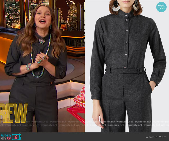 Wool-Blend Mandarin Collar Blouse and Pants by Giorgio Armani worn by Drew Barrymore  on The Drew Barrymore Show