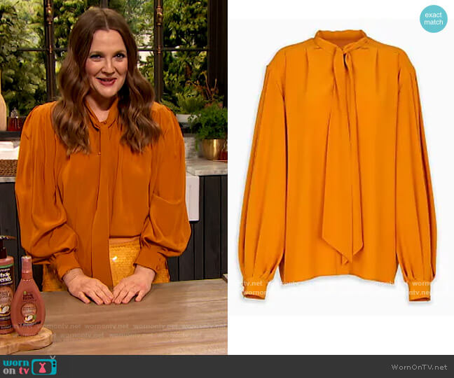Tie Neck Blouse by Givenchy worn by Drew Barrymore  on The Drew Barrymore Show