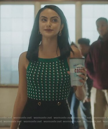 Veronica's green geometric tank top on Riverdale