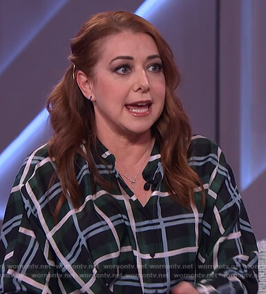 Alyson Hannigan's green plaid shirtdress on The Kelly Clarkson Show