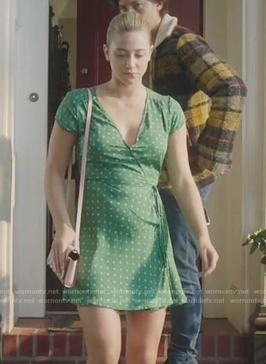 Betty's green polka dot wrap dress on Riverdale