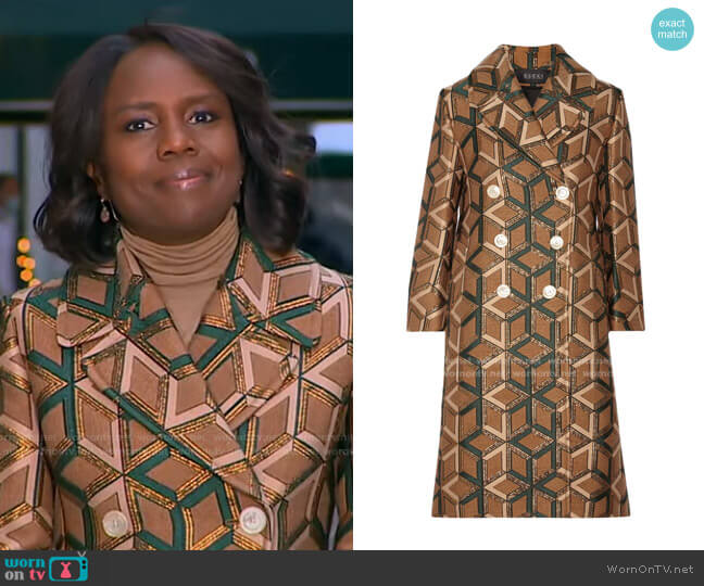 Double-Breasted Metallic Jacquard Coat by Gucci worn by Deborah Roberts  on Good Morning America