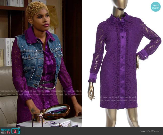 Gucci 2016 Purple Lace Cluny Dress worn by Paris Buckingham (Diamond White) on The Bold & the Beautiful