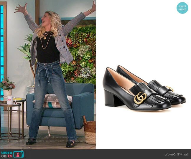 Marmont leather loafer pumps by Gucci worn by Amanda Kloots  on The Talk