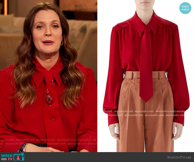 Tie Neck Blouse by Gucci worn by Drew Barrymore  on The Drew Barrymore Show