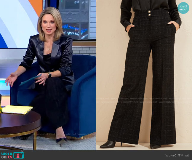 All I Tweed Pant by Guess worn by Amy Robach  on Good Morning America
