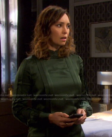 Gwen's green pleated blouse on Days of our Lives
