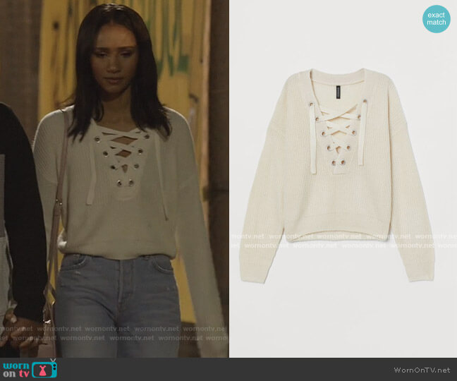 Knit Sweater with Lacing by H&M worn by Layla Keating (Greta Onieogou) on All American