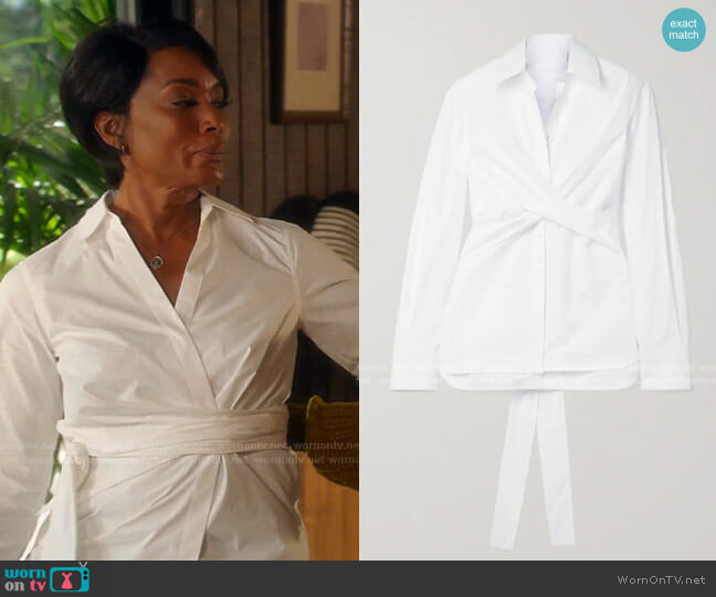 Tie-Detailed Cotton-Poplin Shirt by Helmut Lang worn by Athena Grant (Angela Bassett) on 9-1-1