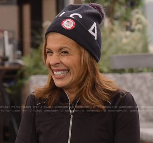 Hoda's USA print beanie on Today