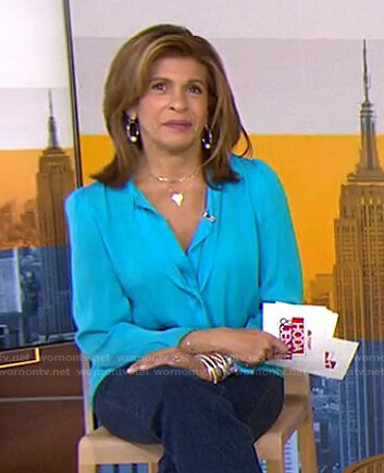 Hoda's blue tie neck blouse on Today