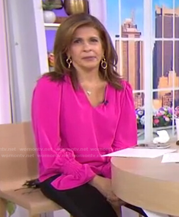 Hoda's pink ruffle cuff v-neck blouse on Today