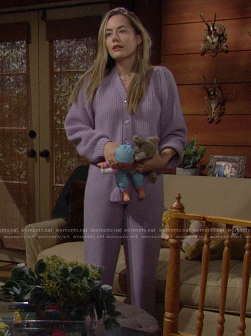 Hope's purple cardigan and lounge pants on The Bold and the Beautiful