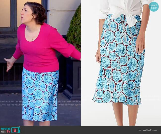 J. Crew Pull-on slip skirt in aqua paisley worn by Kat Silver (Mayim Bialik) on Call Me Kat