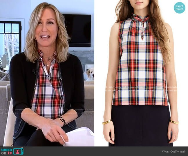 Ruffle Neck Cotton Plaid Top by J. Crew worn by Lara Spencer  on Good Morning America