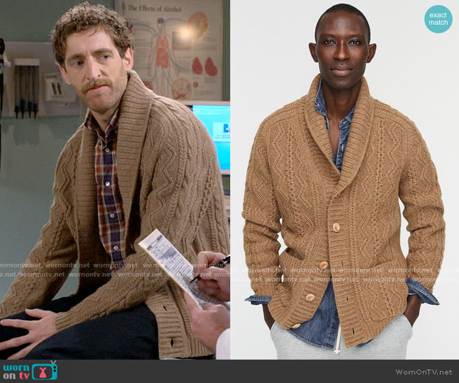 J. Crew Wallace & Barnes Cable-knit Shawl-collar Cardigan worn by Drew Dunbar (Thomas Middleditch) on B Positive