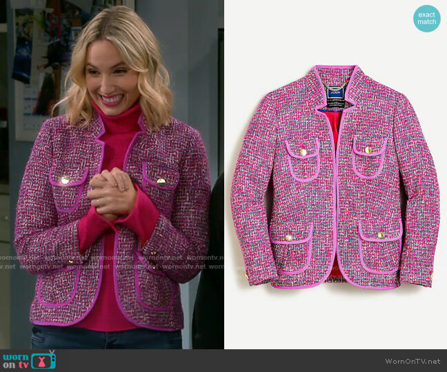 J. Crew Fitted Jacket in Autumn Tweed worn by Mandy Baxter (Molly McCook) on Last Man Standing