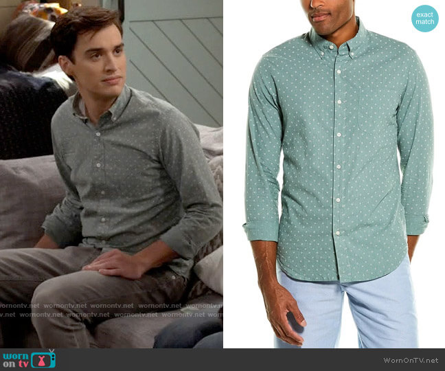 J. Crew Stretch Secret Wash Shirt in Patterned Green worn by Freddie Raine (Joey Bragg) on Call Your Mother