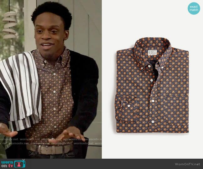 J. Crew Printed Stretch Original Fit Button Down Shirt worn by Lane (Austin Crute) on Call Your Mother