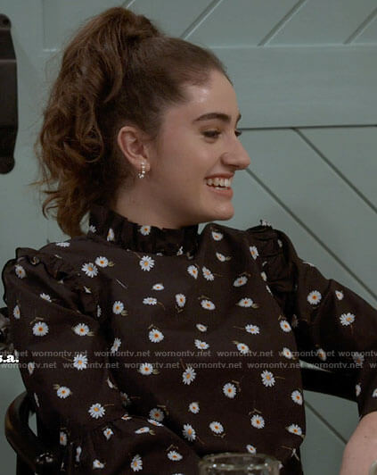Jackie's black daisy print blouse on Call Your Mother