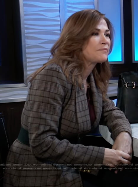 Jackie's brown plaid blazer on General Hospital