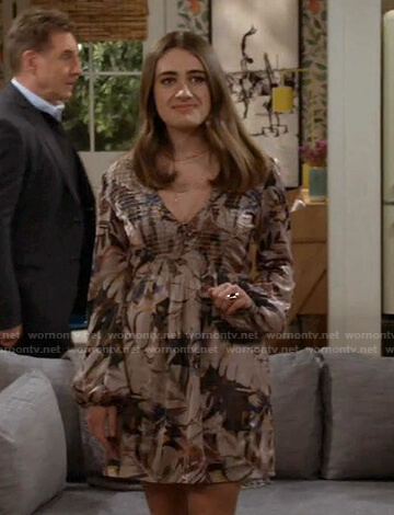Jackie's floral smocked v-neck dress on Call Your Mother