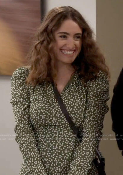 Jackie's green dotted print dress on Call Your Mother