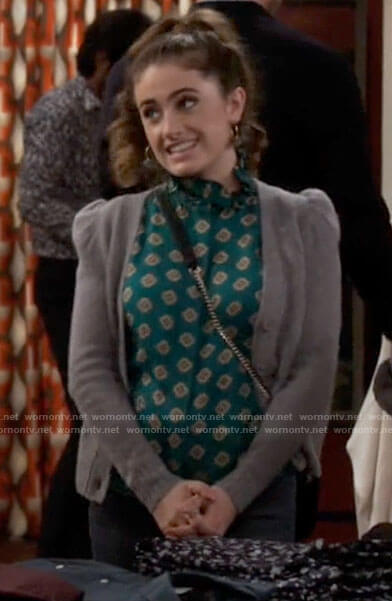 Jackie's green printed blouse and grey puff sleeve cardigan on Call Your Mother
