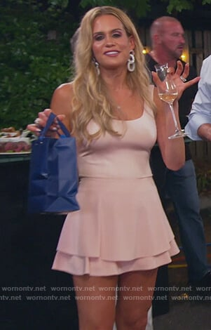 Jackie's pink bodysuit and mini skirt on The Real Housewives of New Jersey
