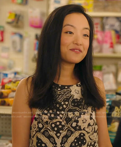 Janet's black and white floral tank top on Kims Convenience