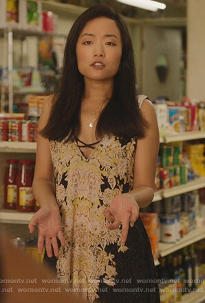 Janet's black floral slip dress on Kims Convenience
