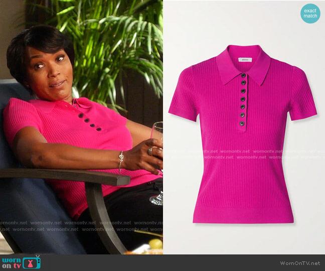 Ribbed-Knit Polo Shirt by Jason Wu worn by Athena Grant (Angela Bassett) on 9-1-1
