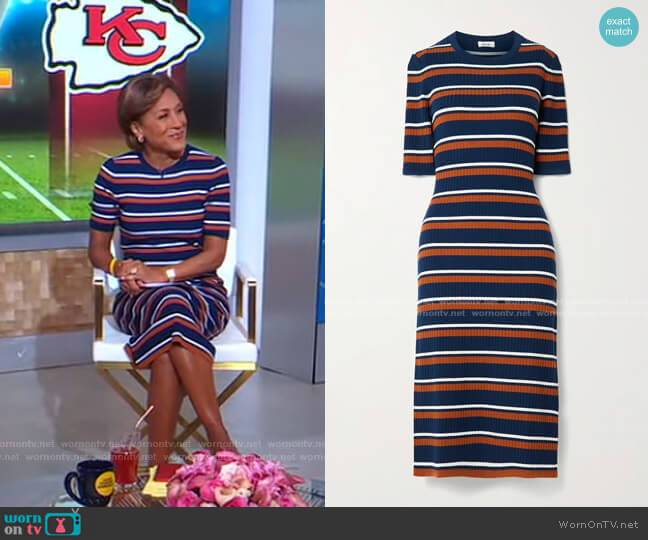 Striped Ribbed Wool-Blend Midi Dress by Jason Wu worn by Robin Roberts  on Good Morning America
