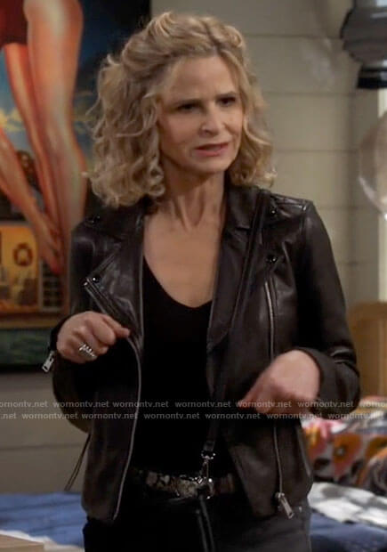 Jean's leather moto jacket on Call Your Mother